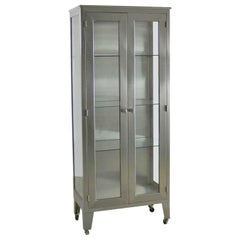 Vintage Stainless-Steel Industrial Display Apothecary Medical Cabinet with Glass