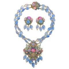 Vintage Stanley Hagler NYC Pink & Purples Bead Necklace & Droplet Earrings 1980s