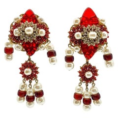 Vintage Stanley Hagler Red Glass & Pearl Shoulder Duster Earrings 1980S