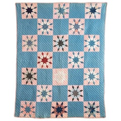 Vintage Star Compass Patchwork Quilt, Early 1900s