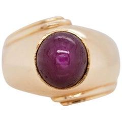 Vintage Star Ruby 18 Karat Yellow Gold Ring