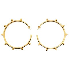 Vintage Statement Gold Hoops With Studs 1990s