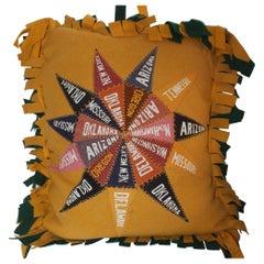 Vintage States Pendent Wool Felt Pillow