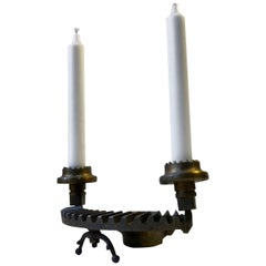 Vintage Steampunk Candleholder in Iron and Brass, 1970s