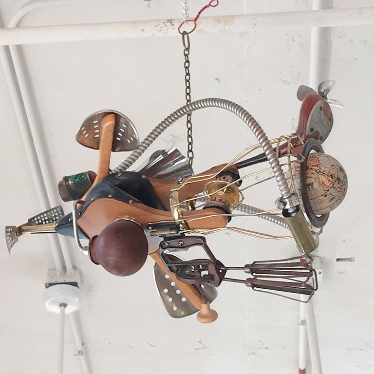 Folk Art Vintage Steampunk Kinetic Fantasy Flying Machine For Sale