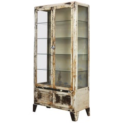 Vintage Steel and Glass Medical Cabinet, 1930s