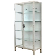 Vintage Steel and Glass Medical Cabinet, 1966