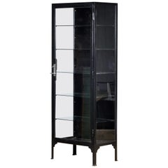 Vintage Steel and Glass Medical Display Cabinet, 1940s