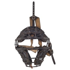 Vintage Steel and Leather Catcher's Mask, c.1940