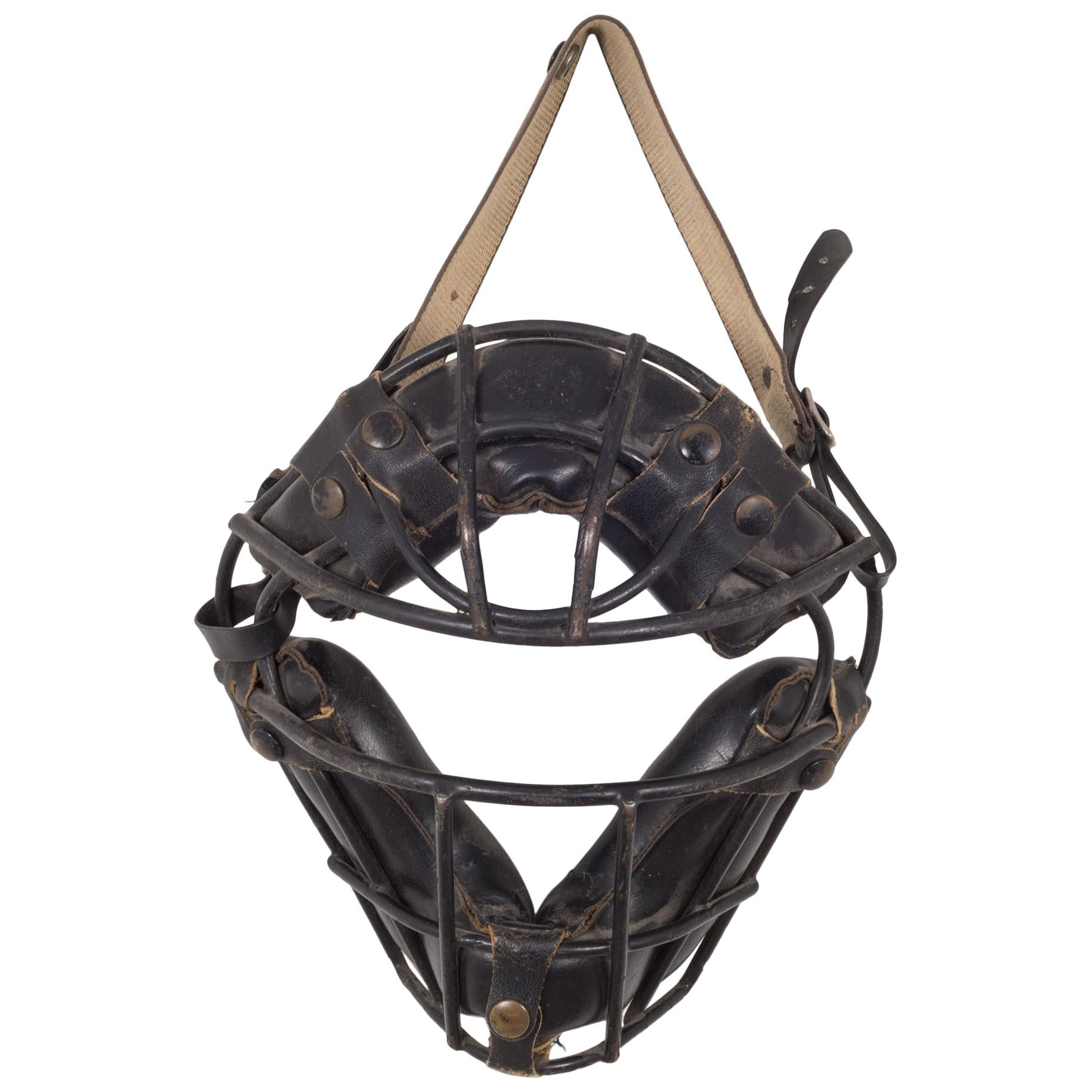 Vintage Steel and Leather Catcher's Mask with Brass Snaps, c.1940