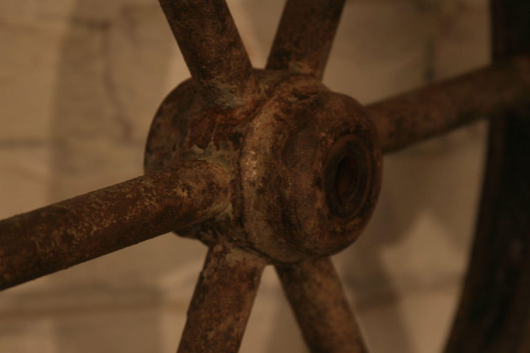 Polish Vintage Steel and Wooden Ship's Wheel For Sale
