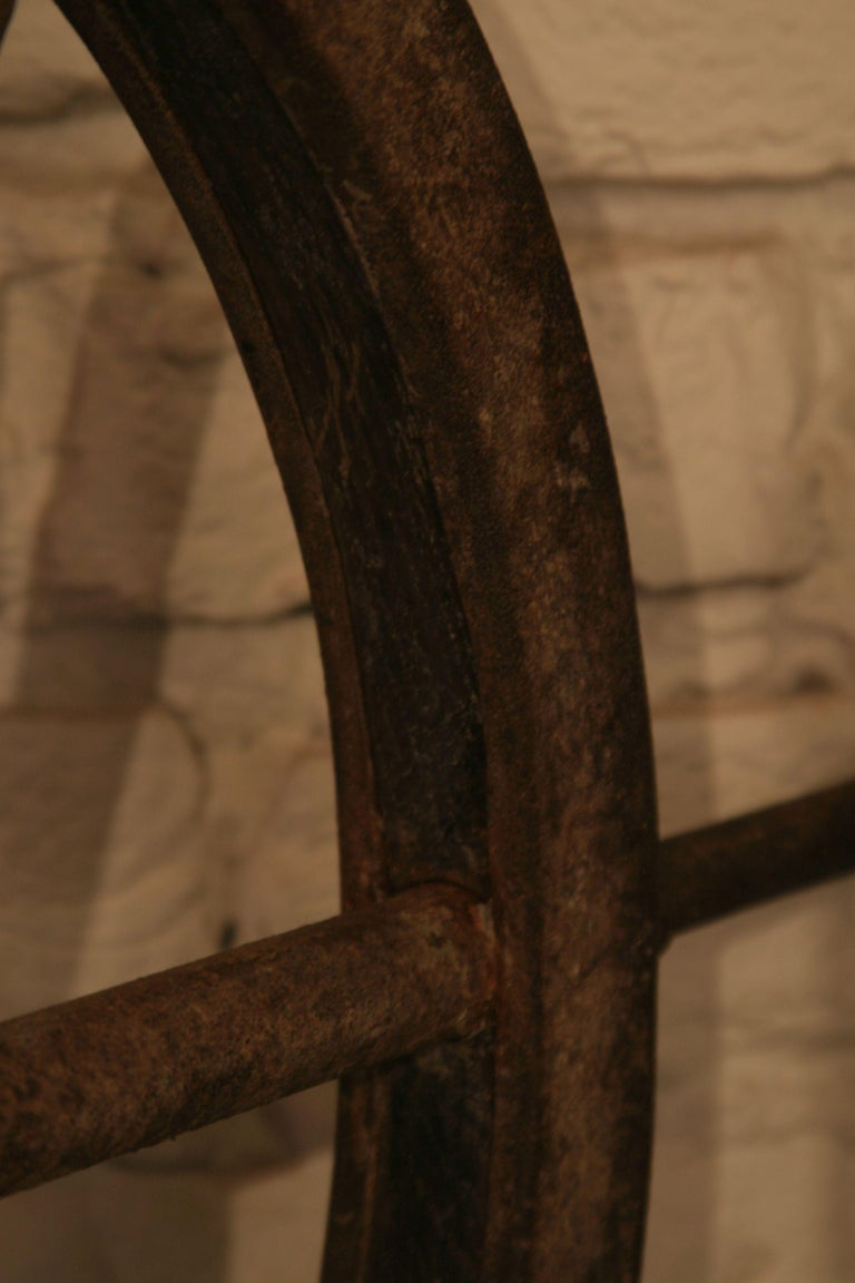 Vintage Steel and Wooden Ship's Wheel In Good Condition For Sale In Warsaw, PL