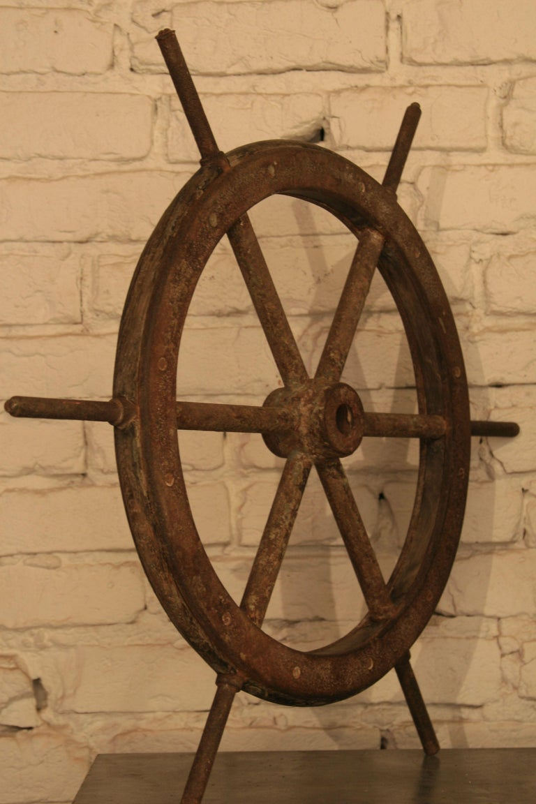 20th Century Vintage Steel and Wooden Ship's Wheel For Sale