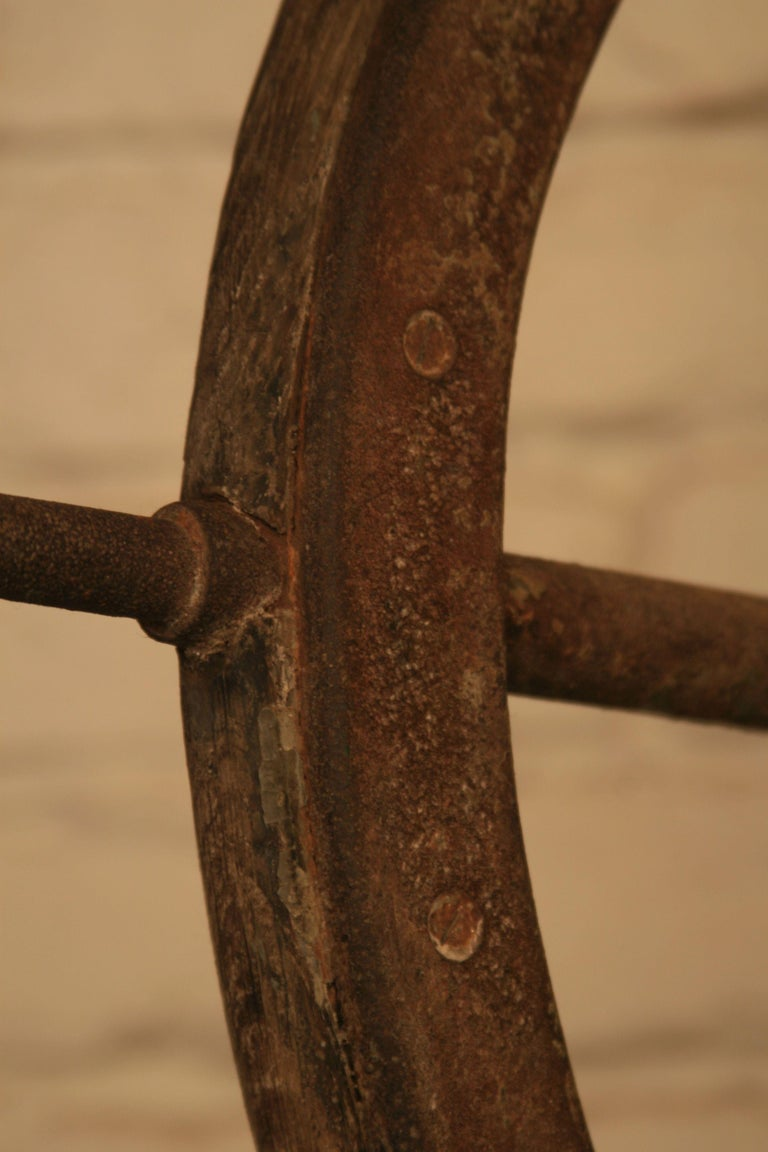 Vintage Steel and Wooden Ship's Wheel For Sale 2