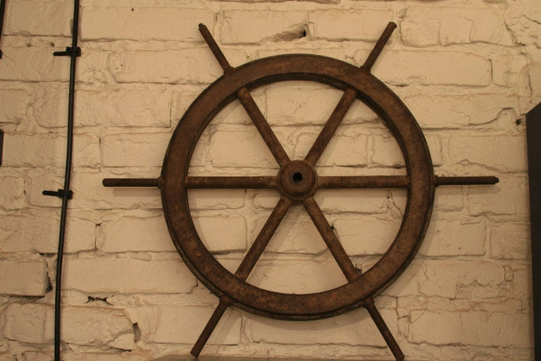 Vintage Steel and Wooden Ship's Wheel For Sale 3