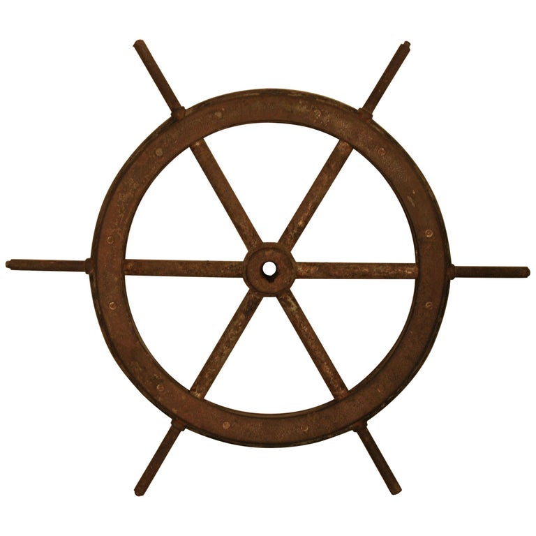 Vintage Steel and Wooden Ship's Wheel For Sale