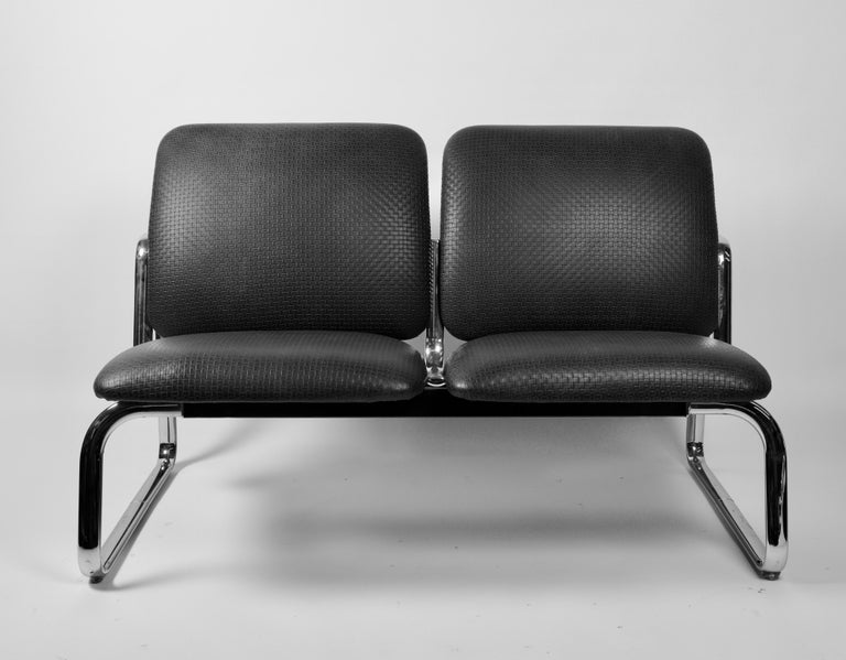 Vintage Steel Case Leather Tandem Benches For Sale At 1stdibs