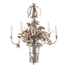 Vintage Steel Floral Chandelier with Basket, Bow Knots and Ribbons