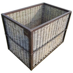 Vintage Steel Frame & Wicker Laundry Basket Bin on Wheels