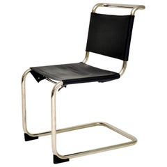 Vintage Steel & Leather Cantilever S33 Chair by Mart Stam