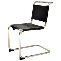 Vintage Steel and Leather Cantilever S33 Chair by Mart Stam