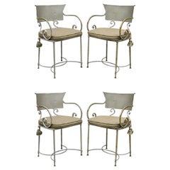 Vintage Steel Metal Hollywood Regency Scrolling Arm Dining Chairs, Set of 4