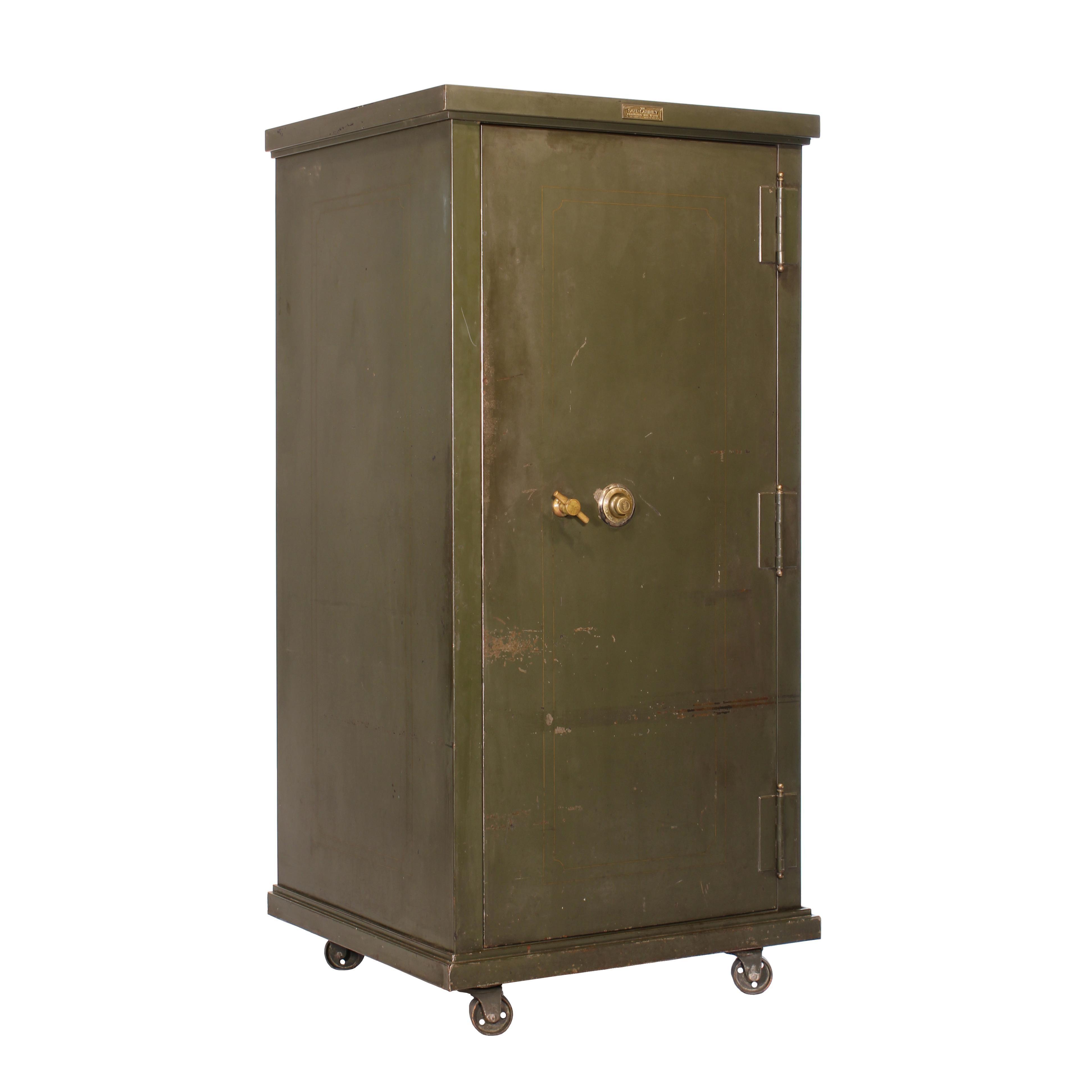 Vintage steel furniture Dark Wood Vintage Steel Safecabinet Co Safe For Sale Placewares Vintage Steel Safecabinet Co Safe For Sale At 1stdibs