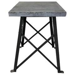 Vintage Steel Trestle Table or Pedestal with Slate Top