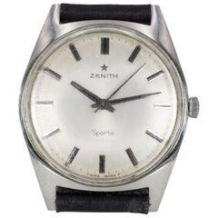 Vintage Steel Zenith Sporto Wristwatch, 1960s