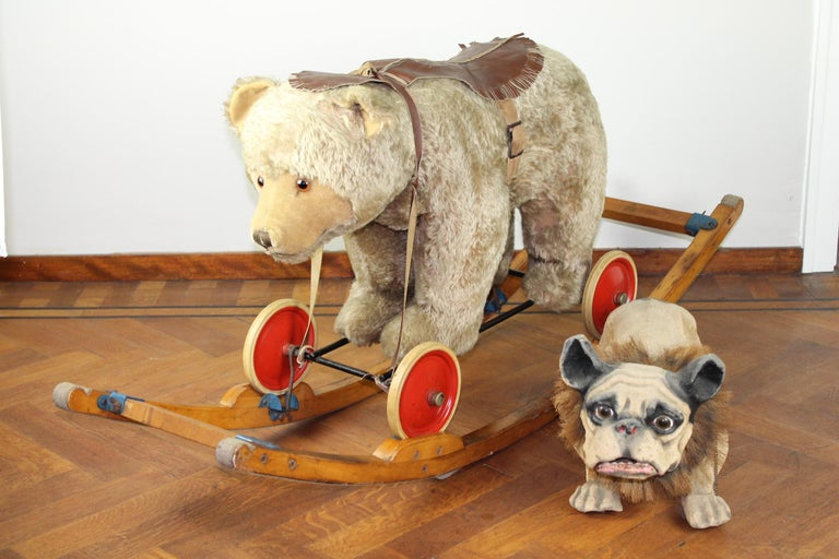 Fabulous large vintage pull toy - riding toy - rocking teddy bear toy.
