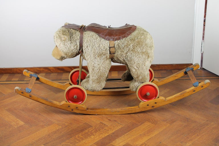 Mid-Century Modern Vintage Steiff Rocking Teddy Bear, Pull Toy Bear, 1950s, Germany For Sale