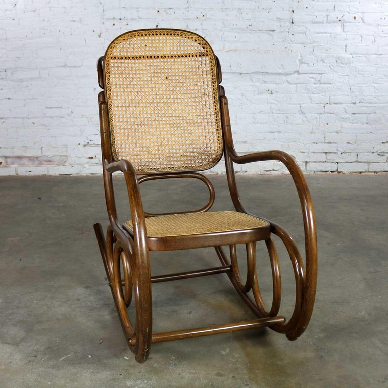 Vintage Stendig Bentwood And Cane Rocker Double Circle