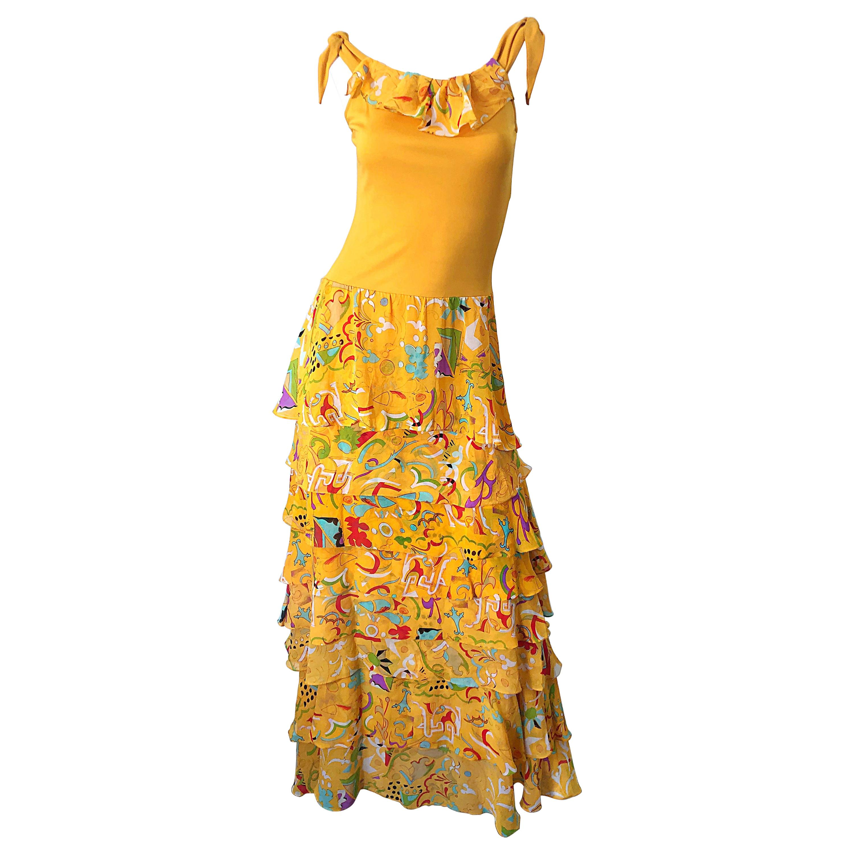 Vintage Stephen Burrows Orange Matte Silk Jersey Chiffon Abstract Print Dress