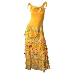 Vintage Stephen Burrows Orange Matte Silk Jersey Chiffon Abstract Print Dress