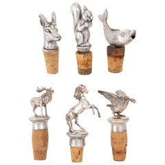Vintage Sterling Figurative Bottle Stoppers/Pourers Collection