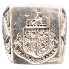 Vintage Sterling Large Gents Signet Ring