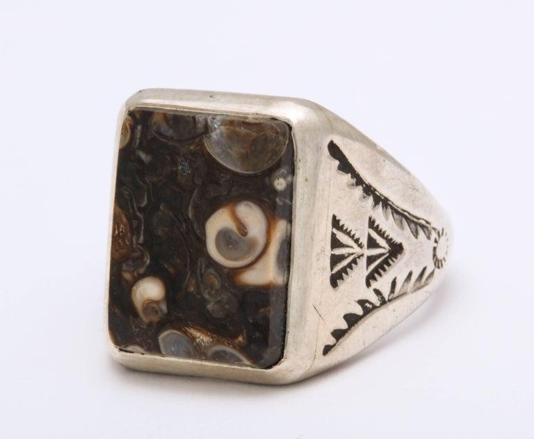 Artist Vintage Sterling Navajo Fossil Ring For Sale