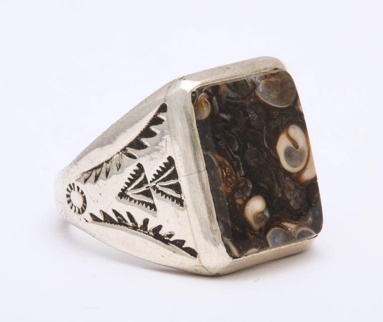 Women's or Men's Vintage Sterling Navajo Fossil Ring For Sale