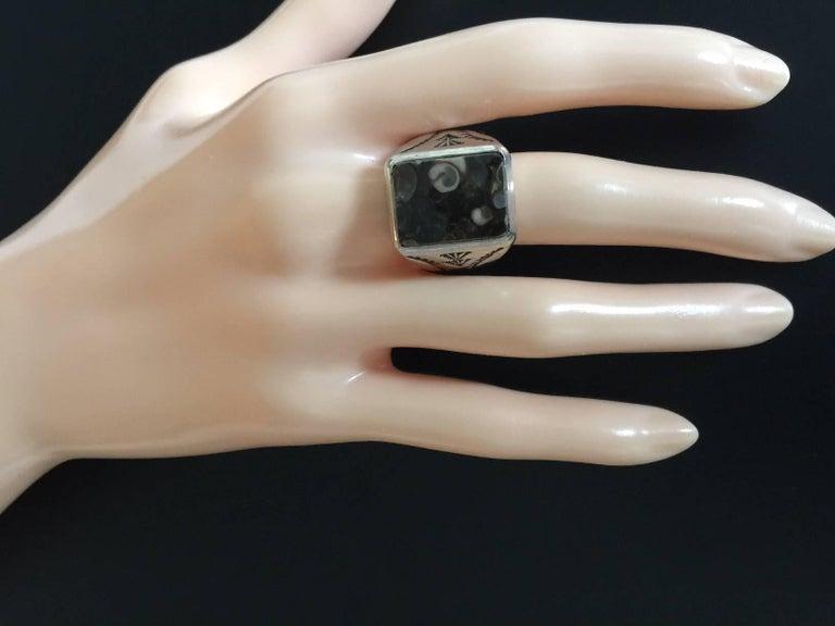 Vintage Sterling Navajo Fossil Ring For Sale 1