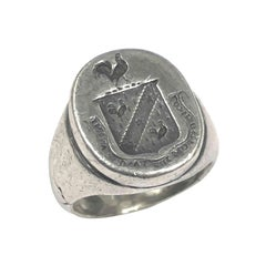 Vintage Sterling Signet Ring Owned and Worn by Hollywood Icon George Hamilton