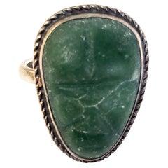 Vintage Sterling Silver Carved Face Tribal Ring
