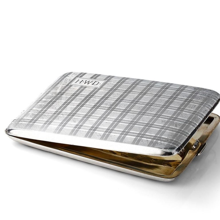 Vintage sterling silver cigarette case. Length: 4 inch Width: 2.75 inch Height: 0.25 inch