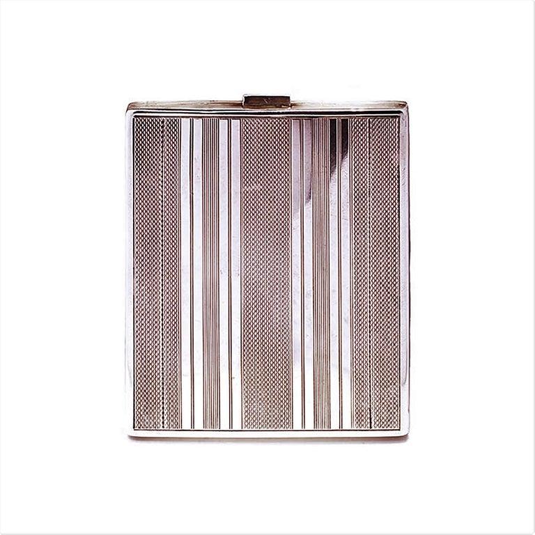 Art Deco Vintage Sterling Silver Cigarette Case For Sale