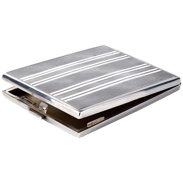 Vintage Sterling Silver Cigarette Case For Sale