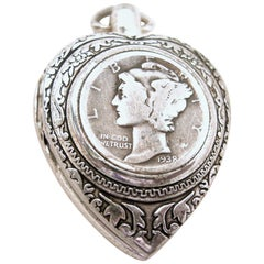 Vintage Sterling Silver Coin-Heart Pendant Watch (working)