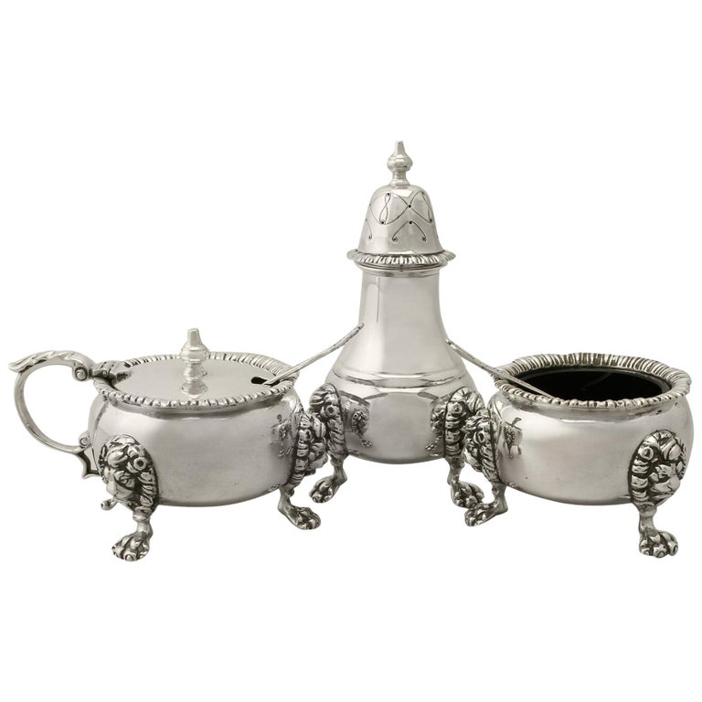 Vintage Sterling Silver Condiment Set, 1967 For Sale