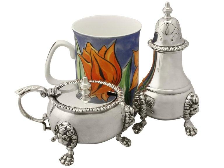 British Vintage Sterling Silver Condiment Set, 1967 For Sale