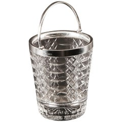 Vintage Sterling Silver and Crystal Ice Pail Bucket, Mid-20th Century