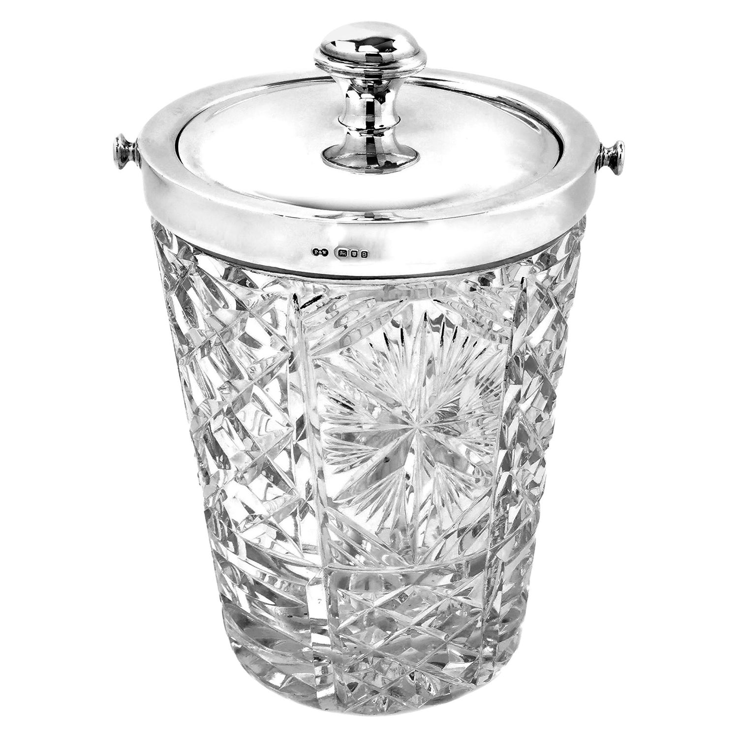 Vintage Sterling Silver & Cut Glass Ice Bucket, England, 1937