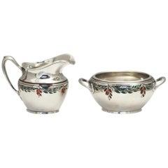 Vintage Sterling Silver and Enamel Jug and Bowl R. Blackinton & Co.